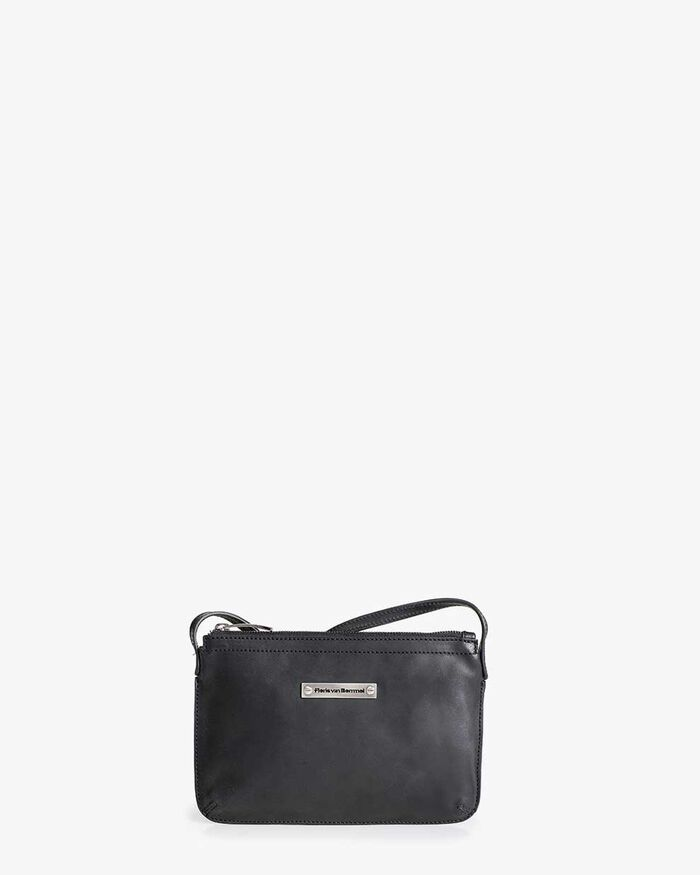Schwarze Leder-Crossbody-Tasche