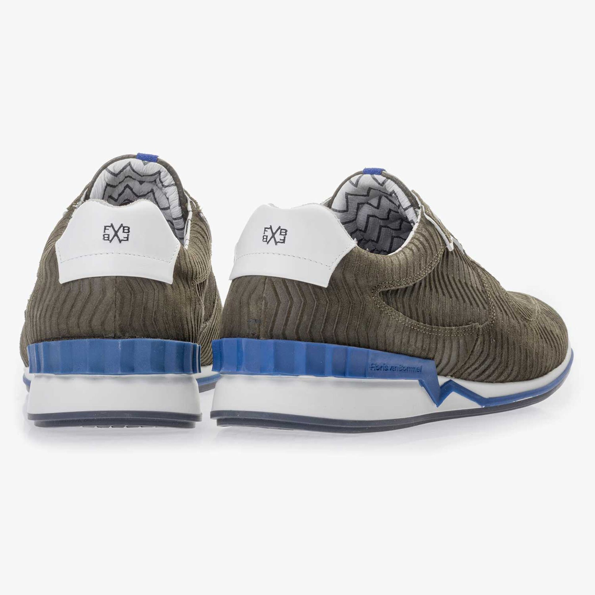 Olive green printed suede leather sneaker
