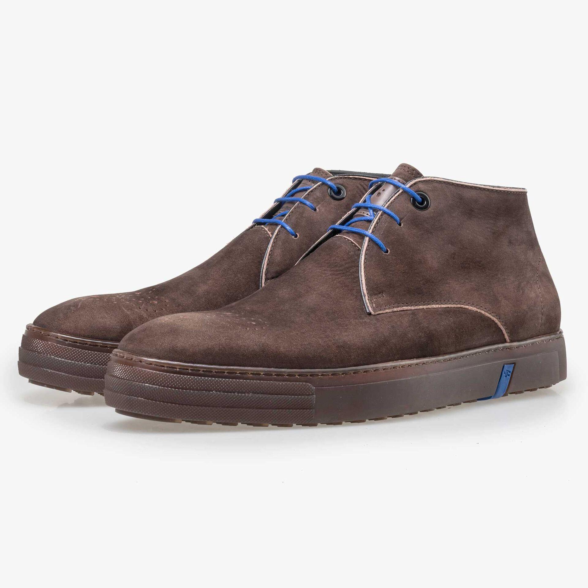 Floris van Bommel brown nubuck leather lace boot
