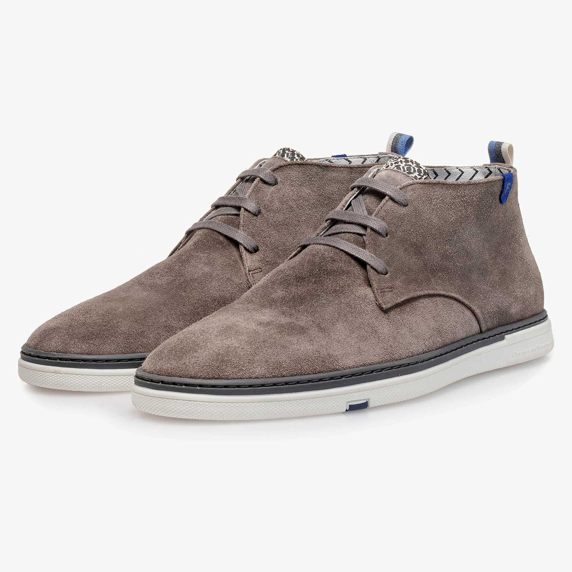 Taupe-coloured slightly buffed suede leather boot