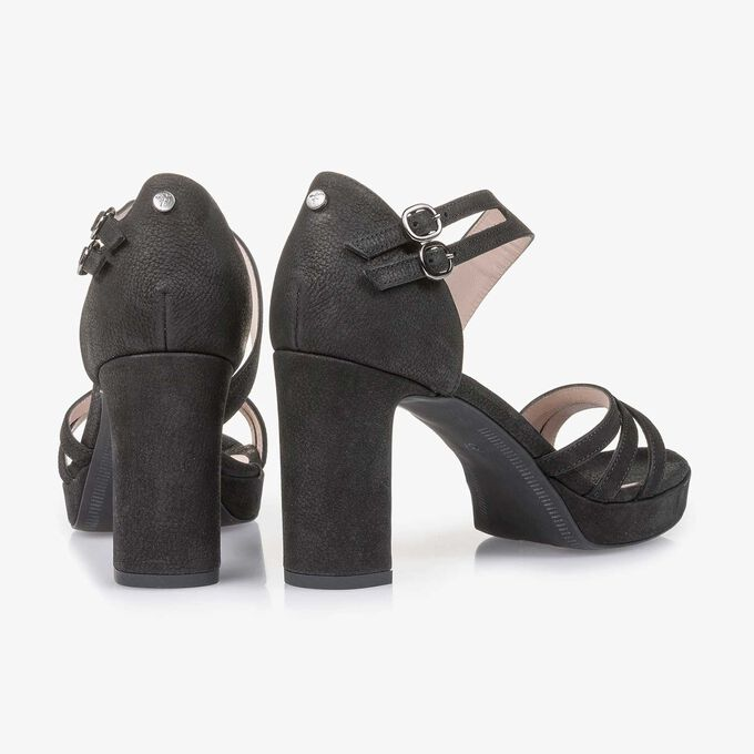 Black slightly structured high-heeled nubuck leather sandal