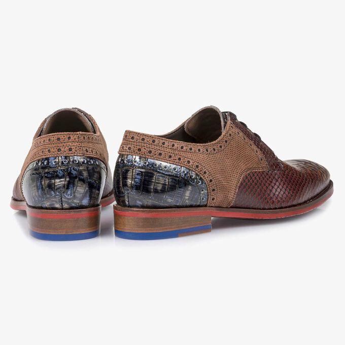 Cognac-coloured snake print leather lace shoe