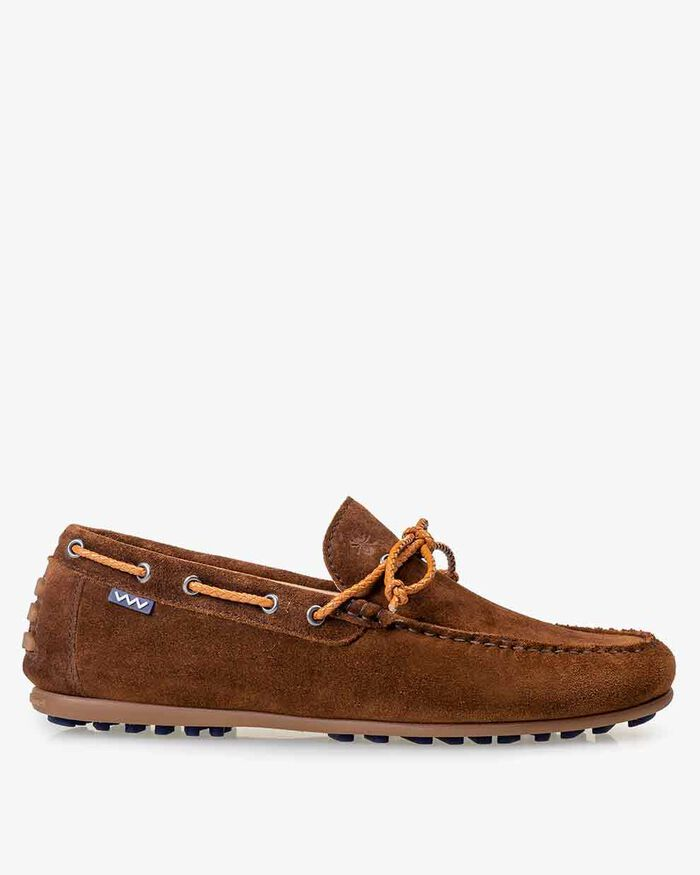 Moccasin suede leather cognac