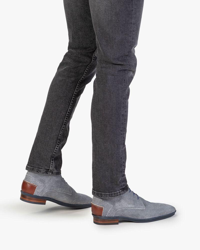 Stiefel mit Print Wildleder schwarz-weiß