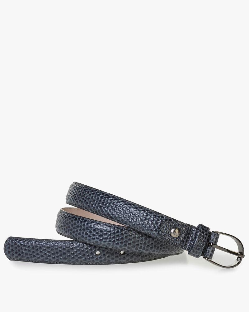 Blue leather belt print