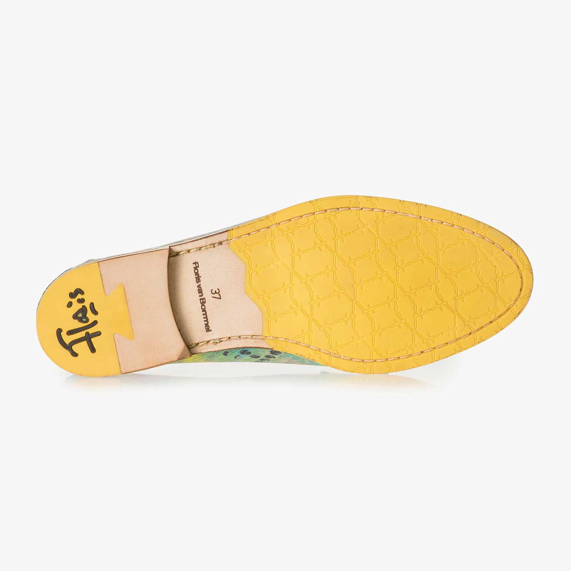 Grüner Leder-Loafer mit Schlangenprint