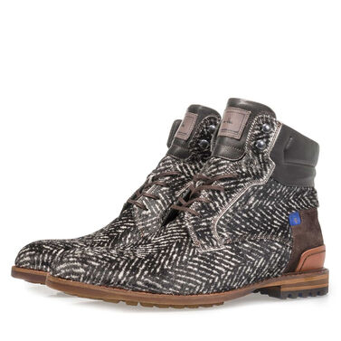 Premium printed pony hair lace boot