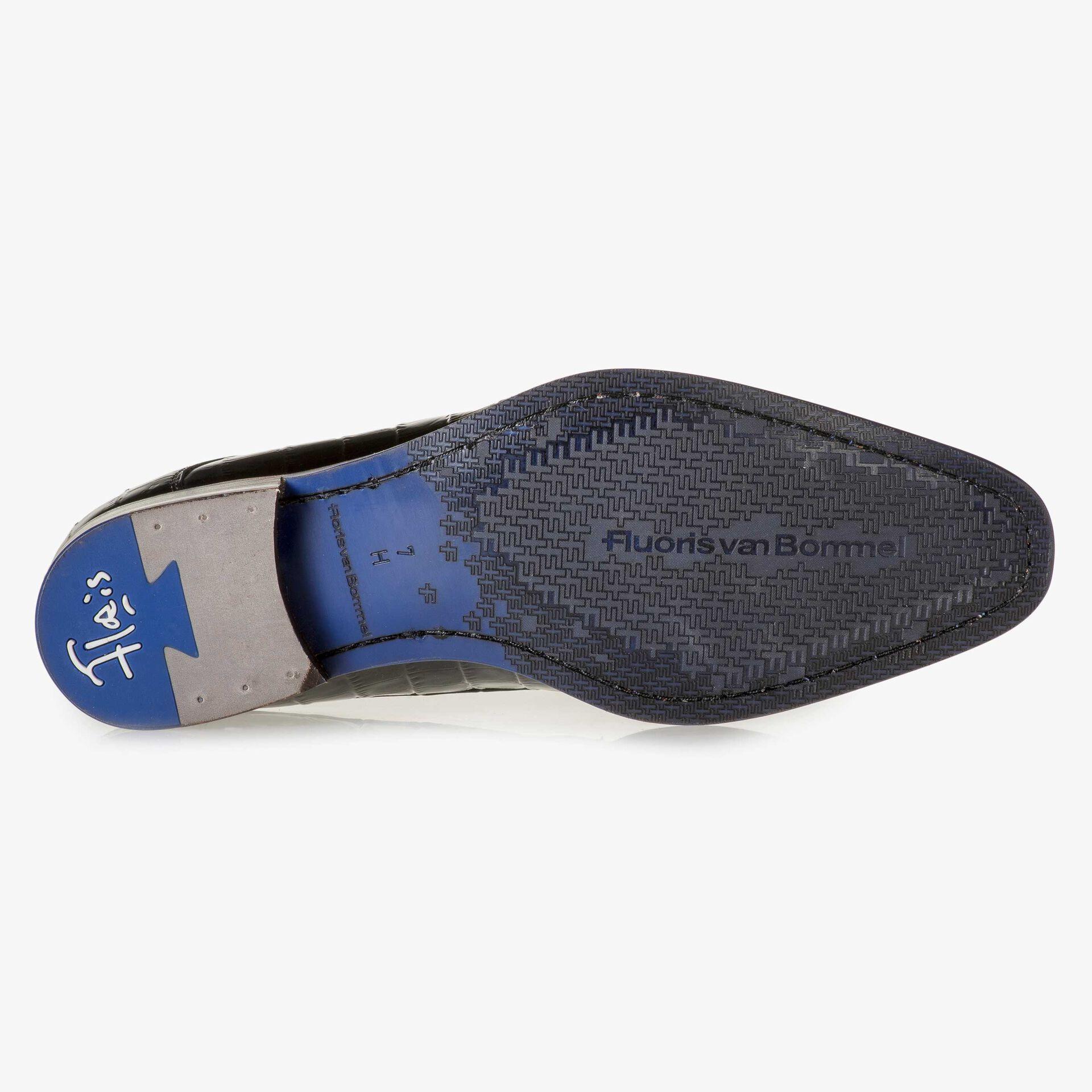 Schwarzer Premium-Schnürschuh mit gelbem Print