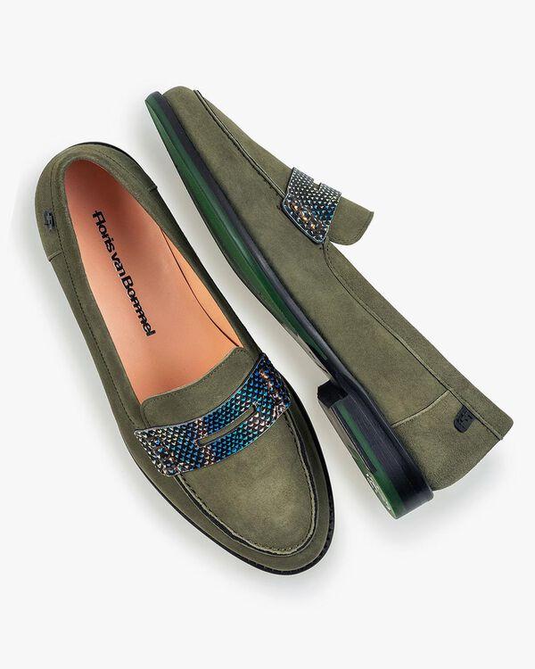 Olivgrüner Wildleder-Loafer