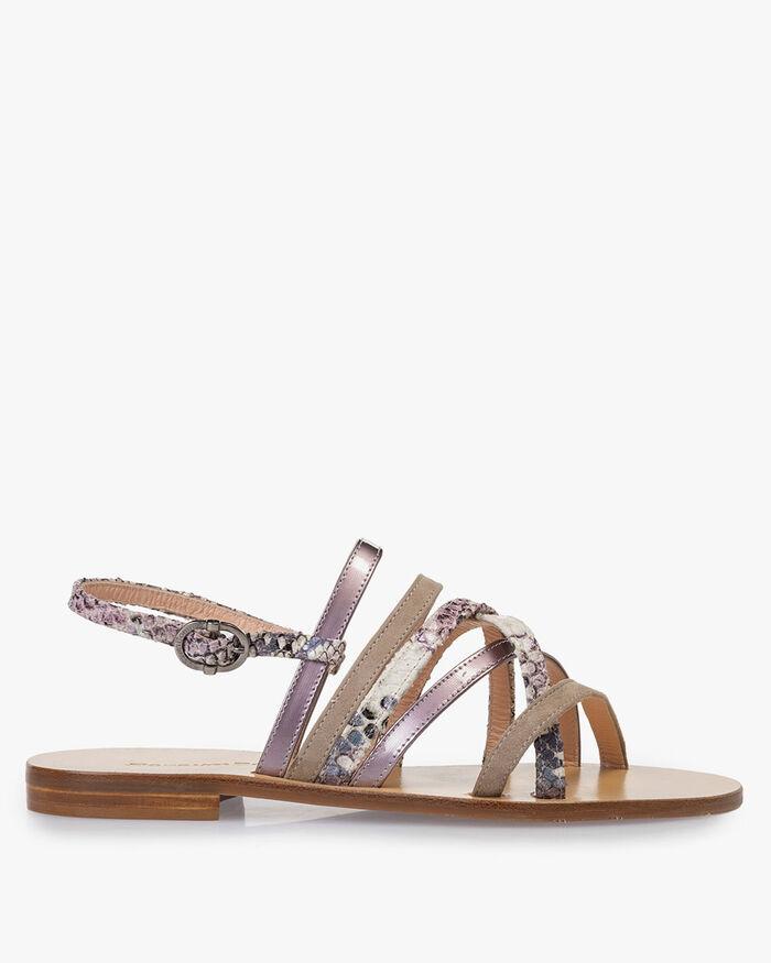 Sandale Leder mit Print pink
