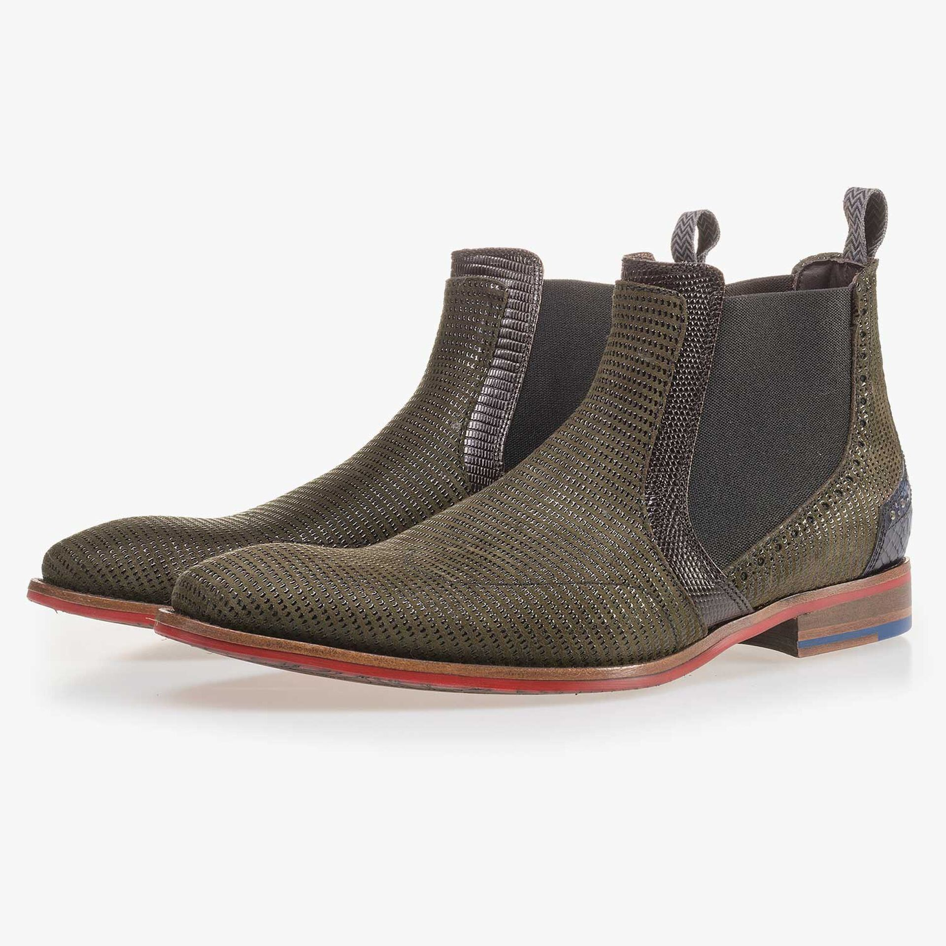 Olive green Chelsea boot made of suede leather
