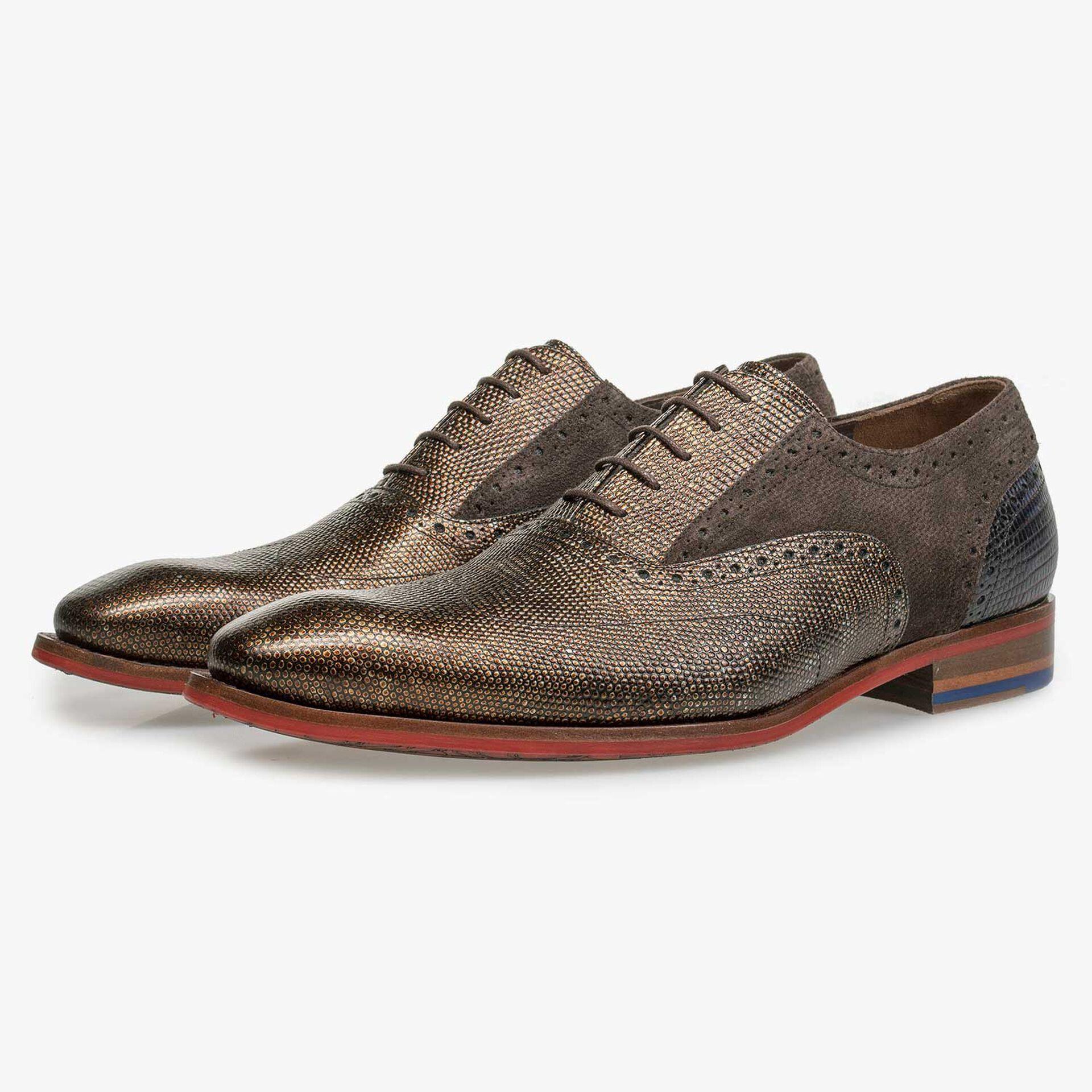 Bronzefarbener Premium Leder-Schnürschuh