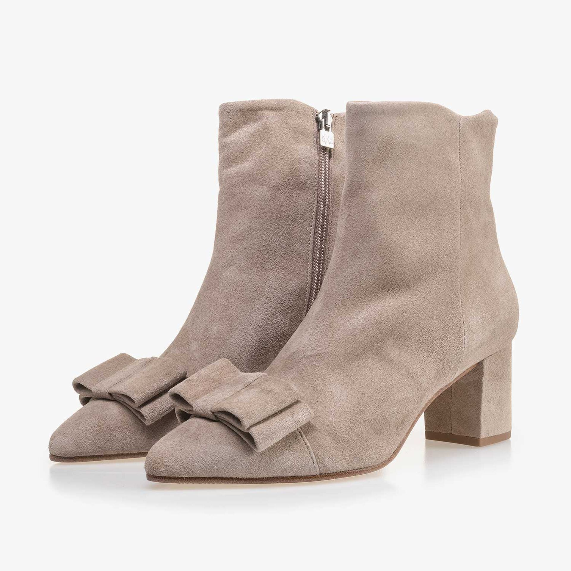 Taupe-coloured calf's suede leather ankle boot