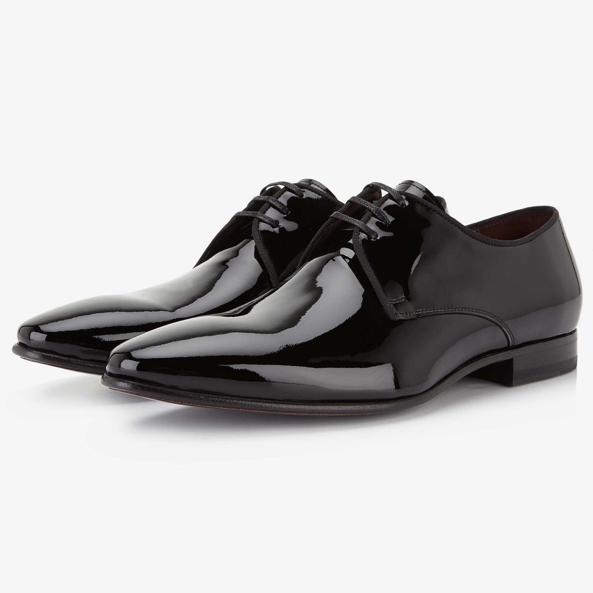 Floris van Bommel black patent leather men's lace-up shoe