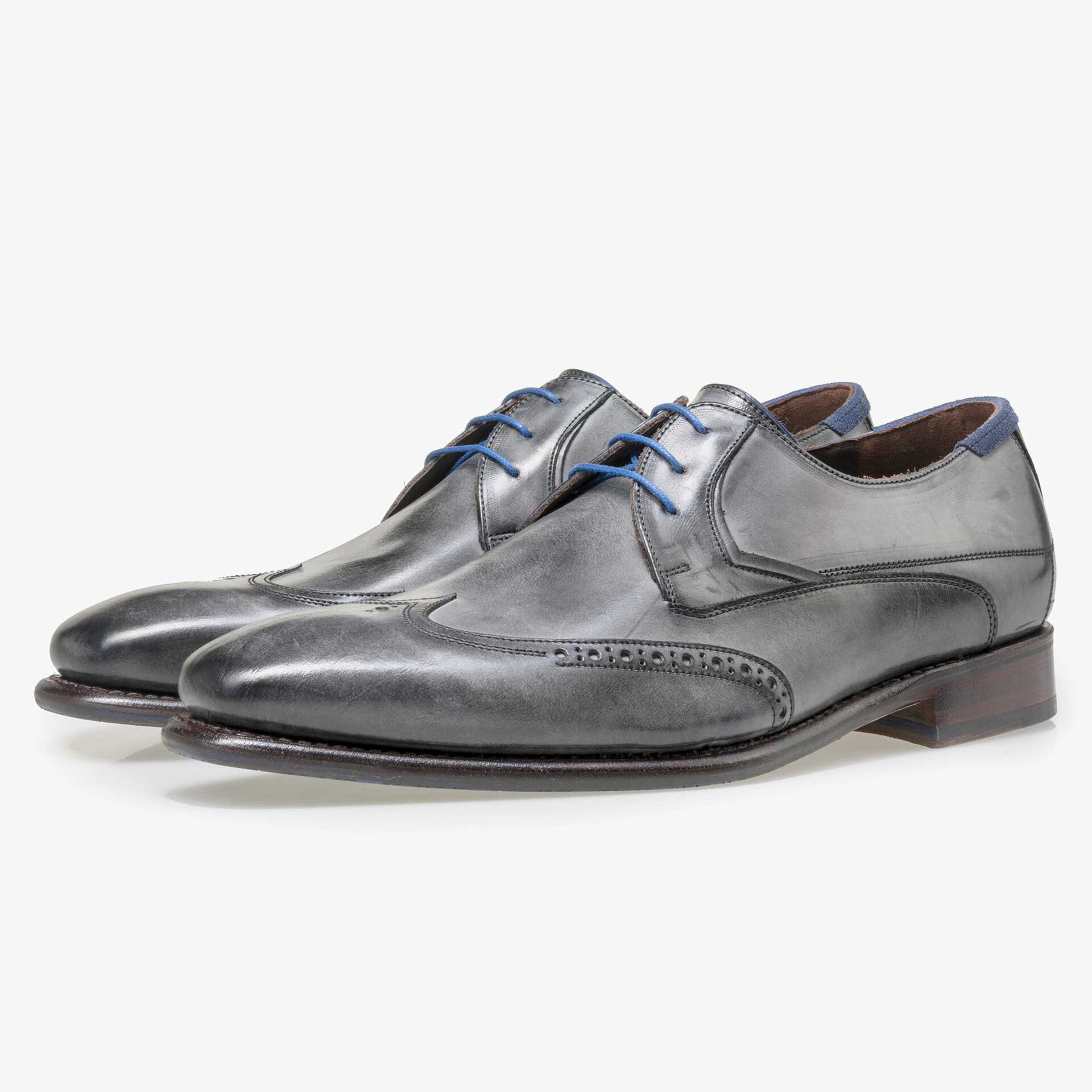 Floris van Bommel men's anthracite grey leather lace shoe