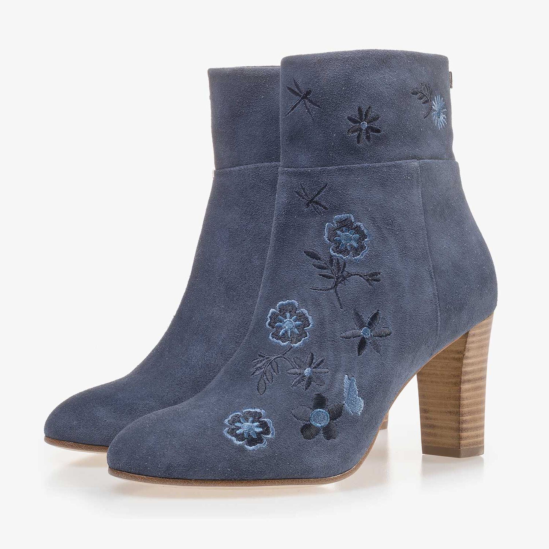 Blue calf's suede leather ankle boot with floral embroidery stitching