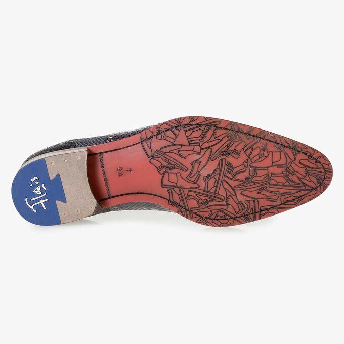 Blauer Premium Kalbsleder-Schnürschuh mit Metallic-Print