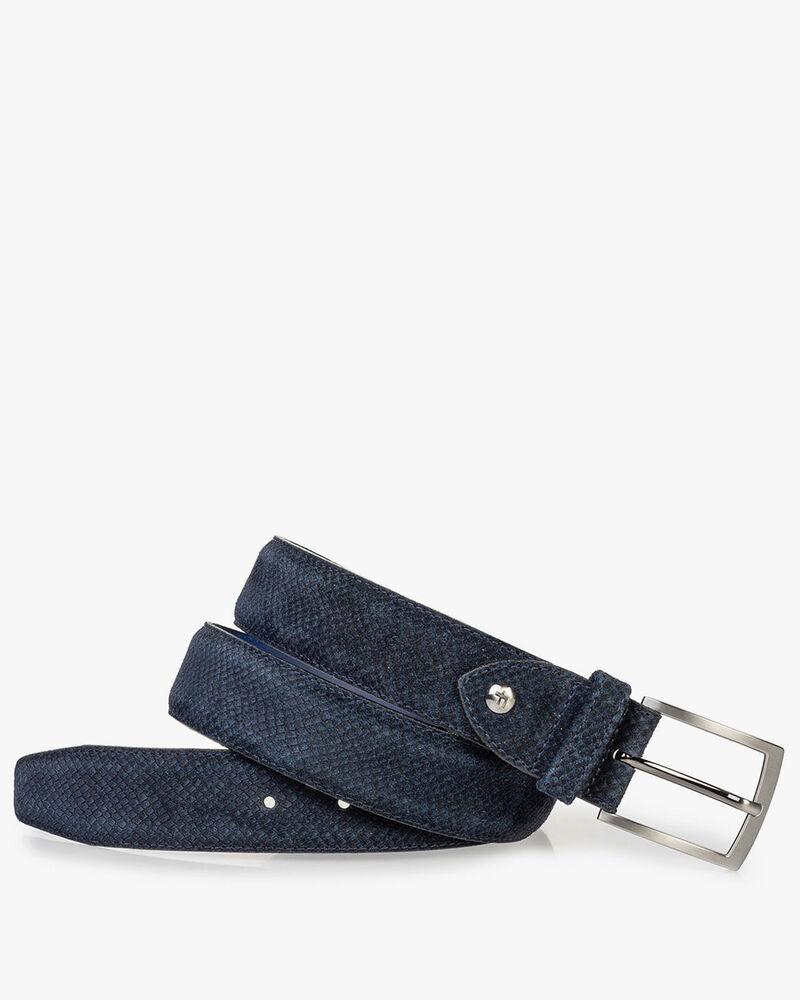 Suede leather belt dark blue with print