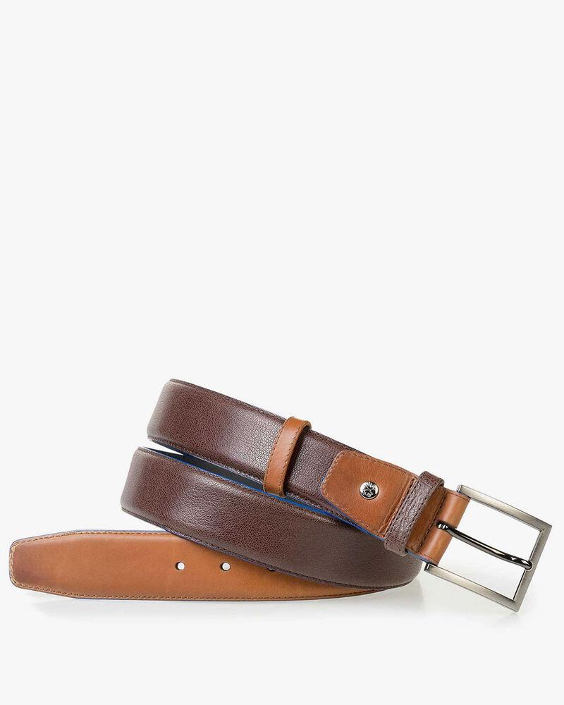 Cognac-coloured calf leather belt