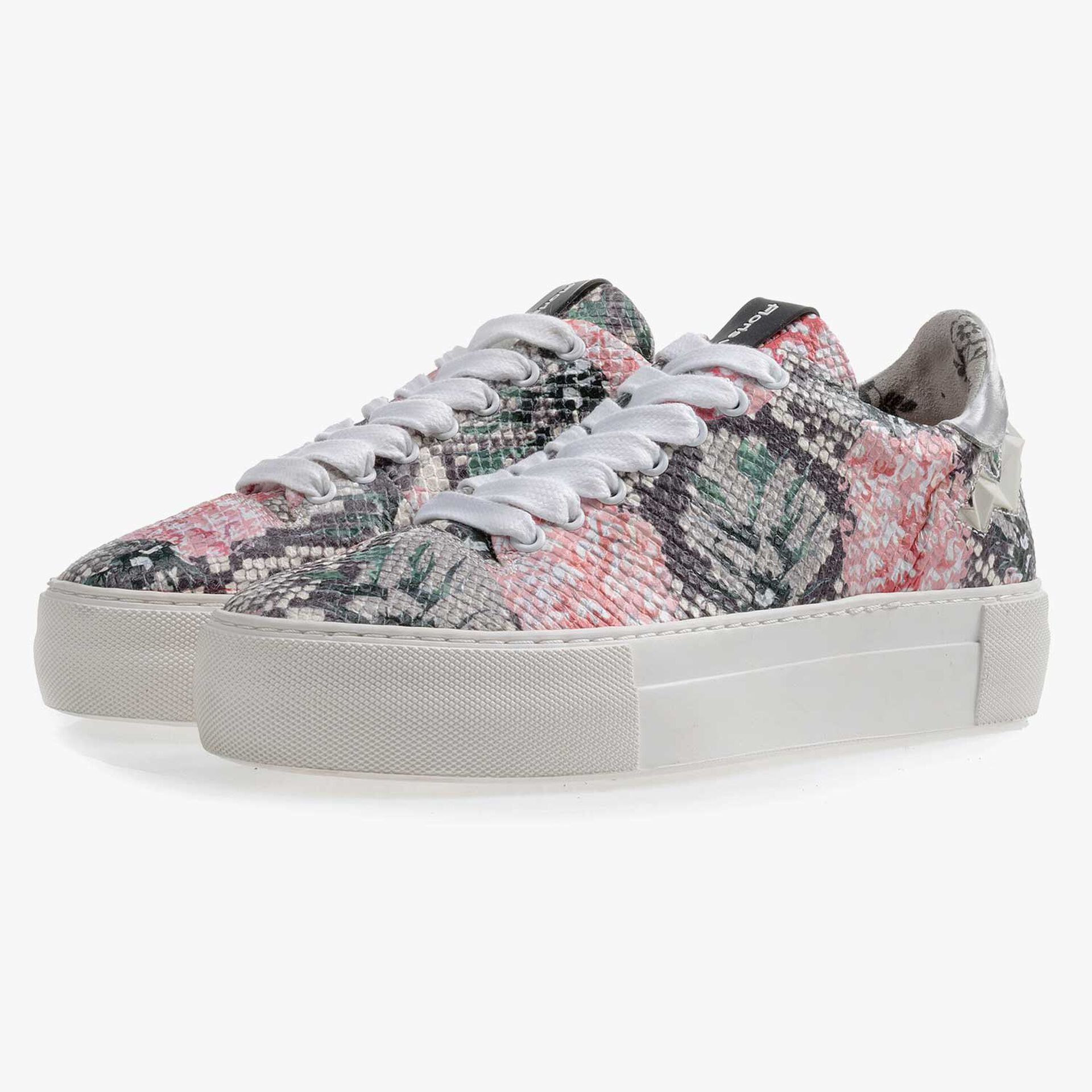 Multi-coloured leather sneaker with printed motif