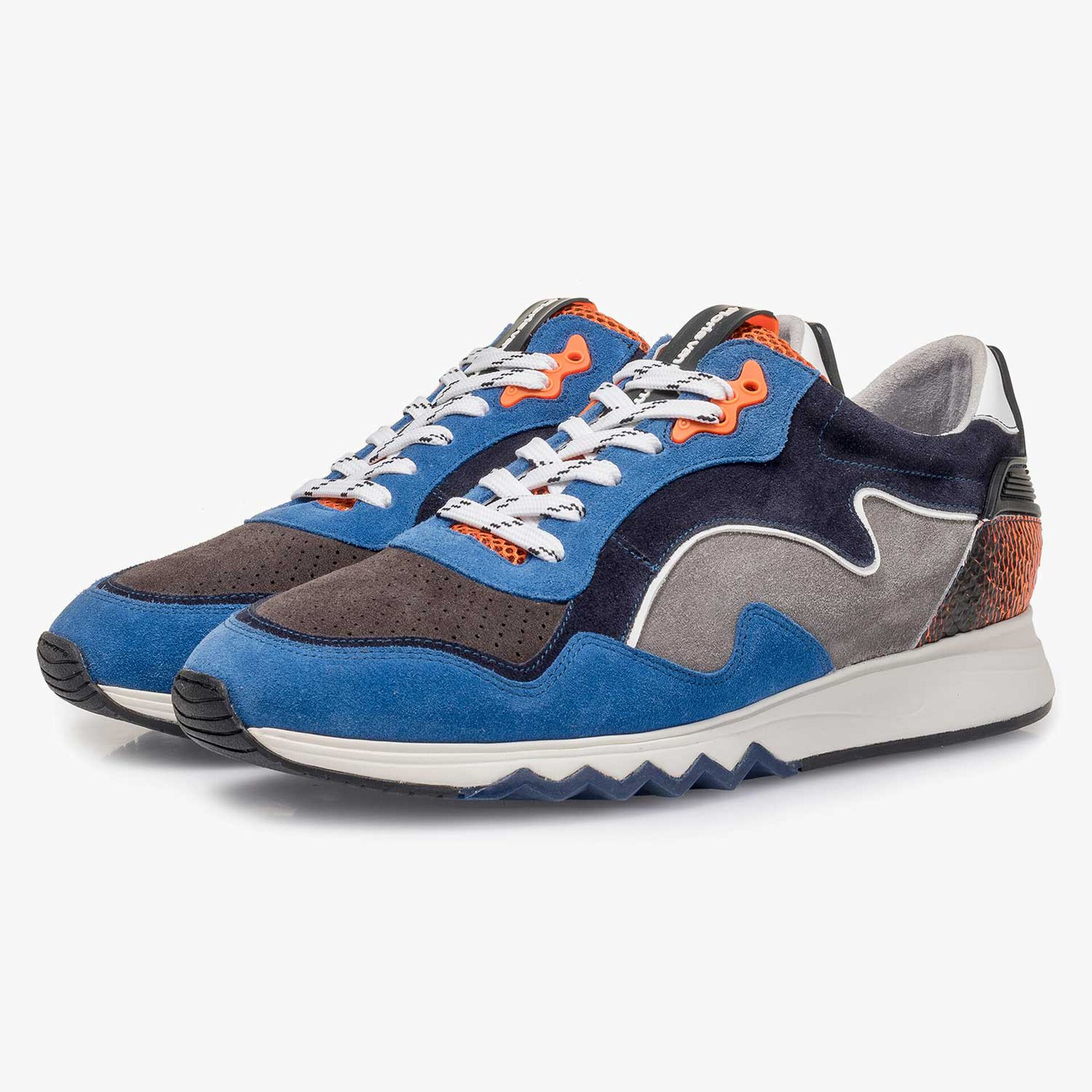 Blue-orange suede leather sneaker