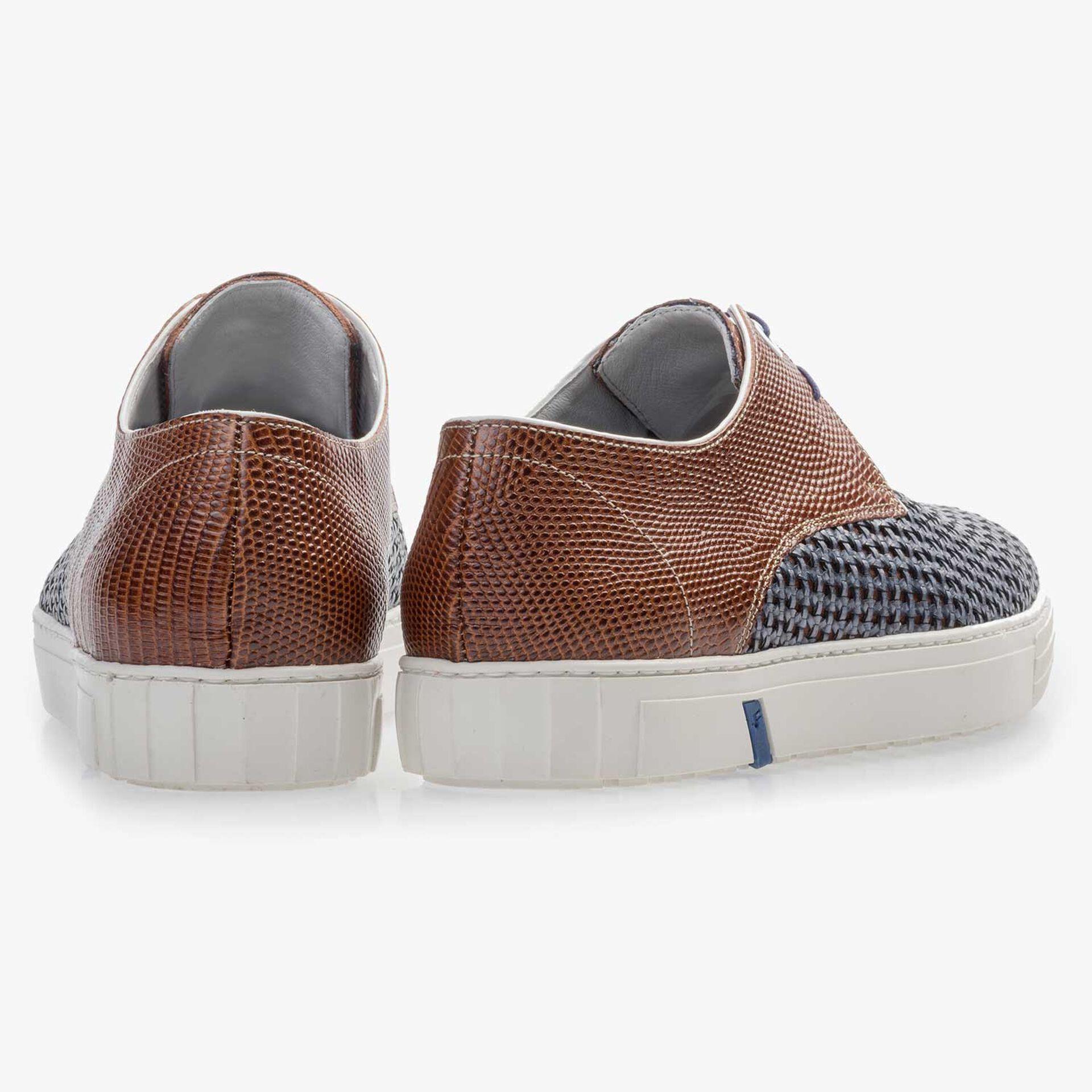 Cognacfarbener Premium Sneaker aus geflochtenem Leder