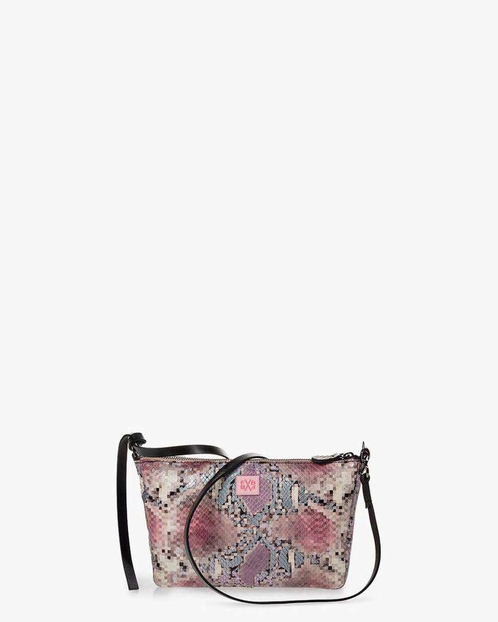 Crossbody-Tasche Leder mit Print pink