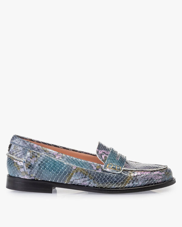 Loafer Leder mit Print blau