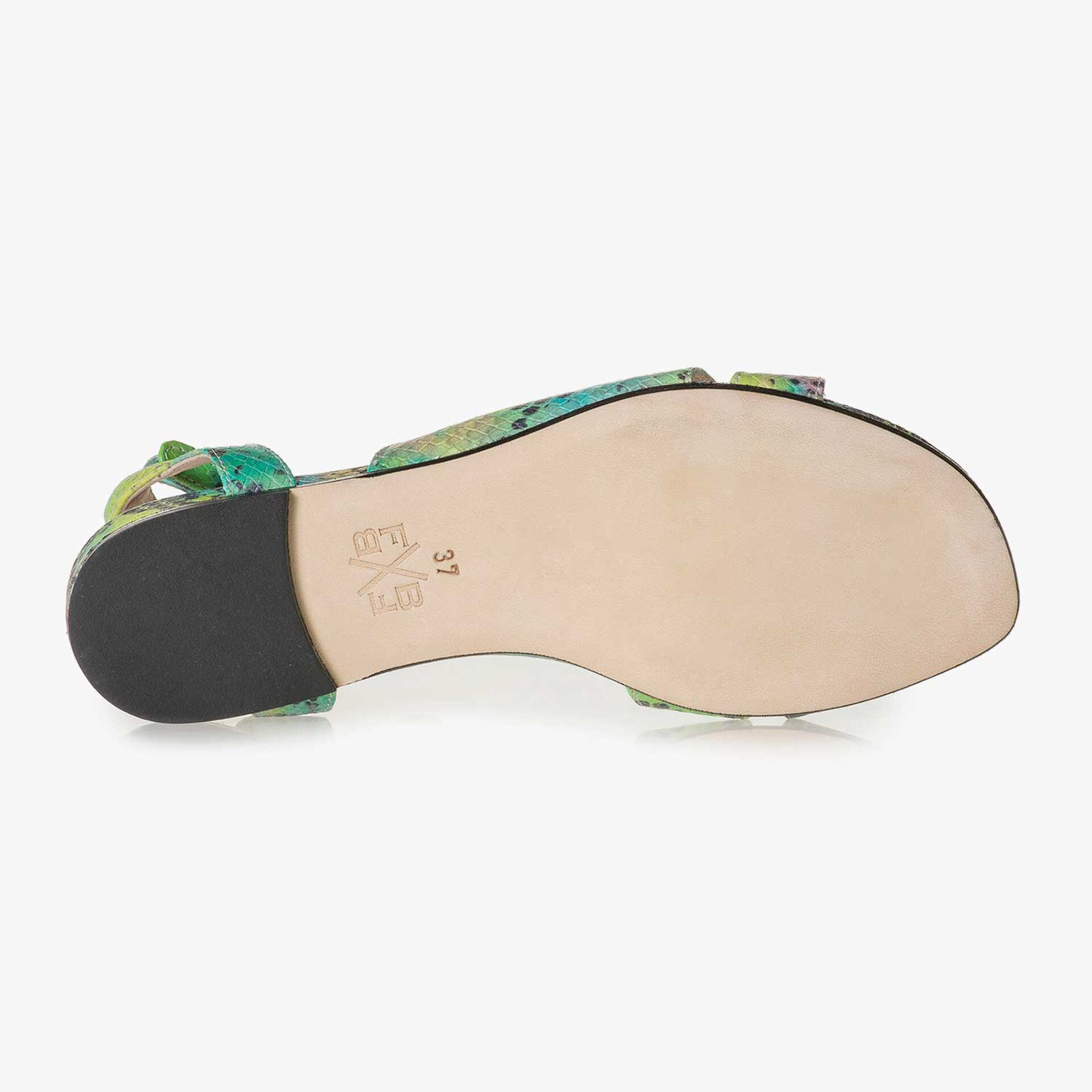Grüne Leder-Sandale mit Schlangenprint