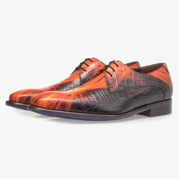 Premium red calf leather lace shoe with lightning bolt print