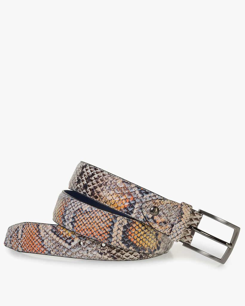 Premium belt with orange snake print