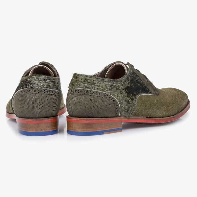 Green rough suede leather lace shoe