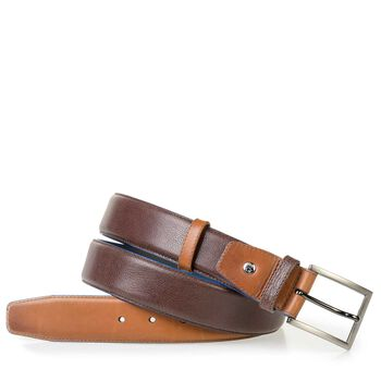 Cognac-coloured calf leather belt