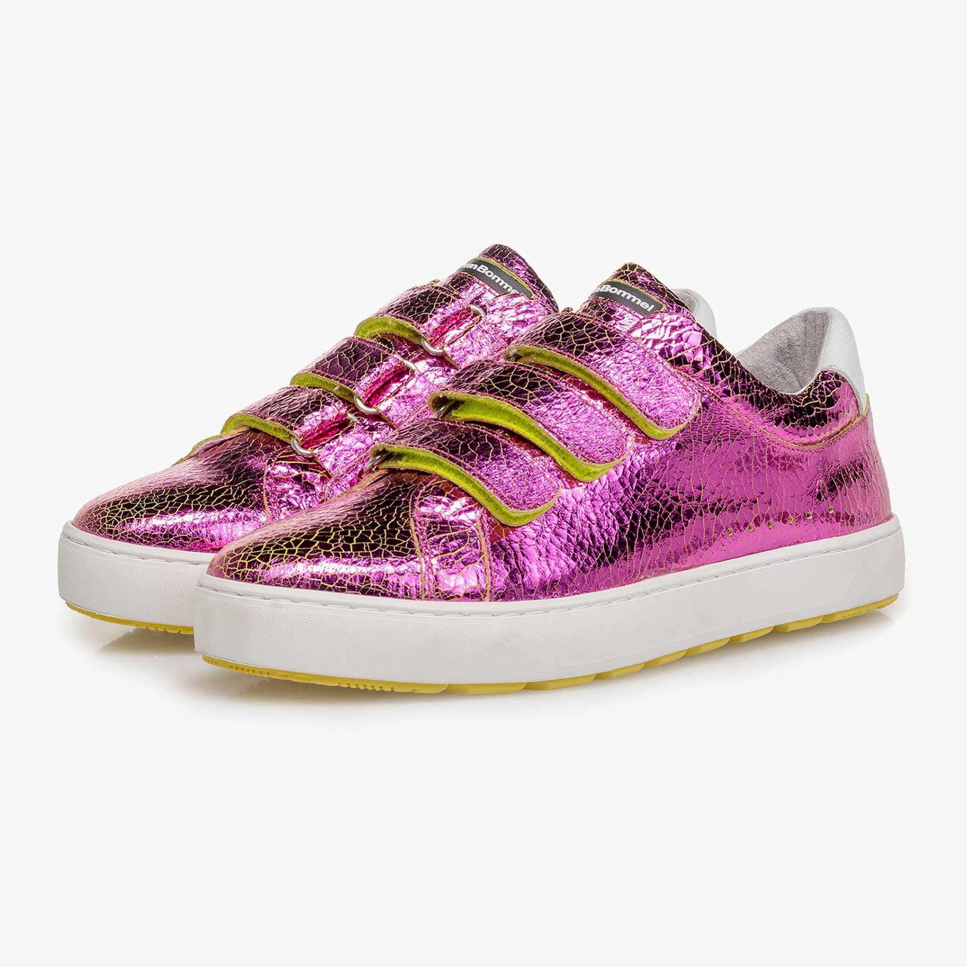 Rosa Metallic Leder-Sneaker mit Craquelé-Effekt