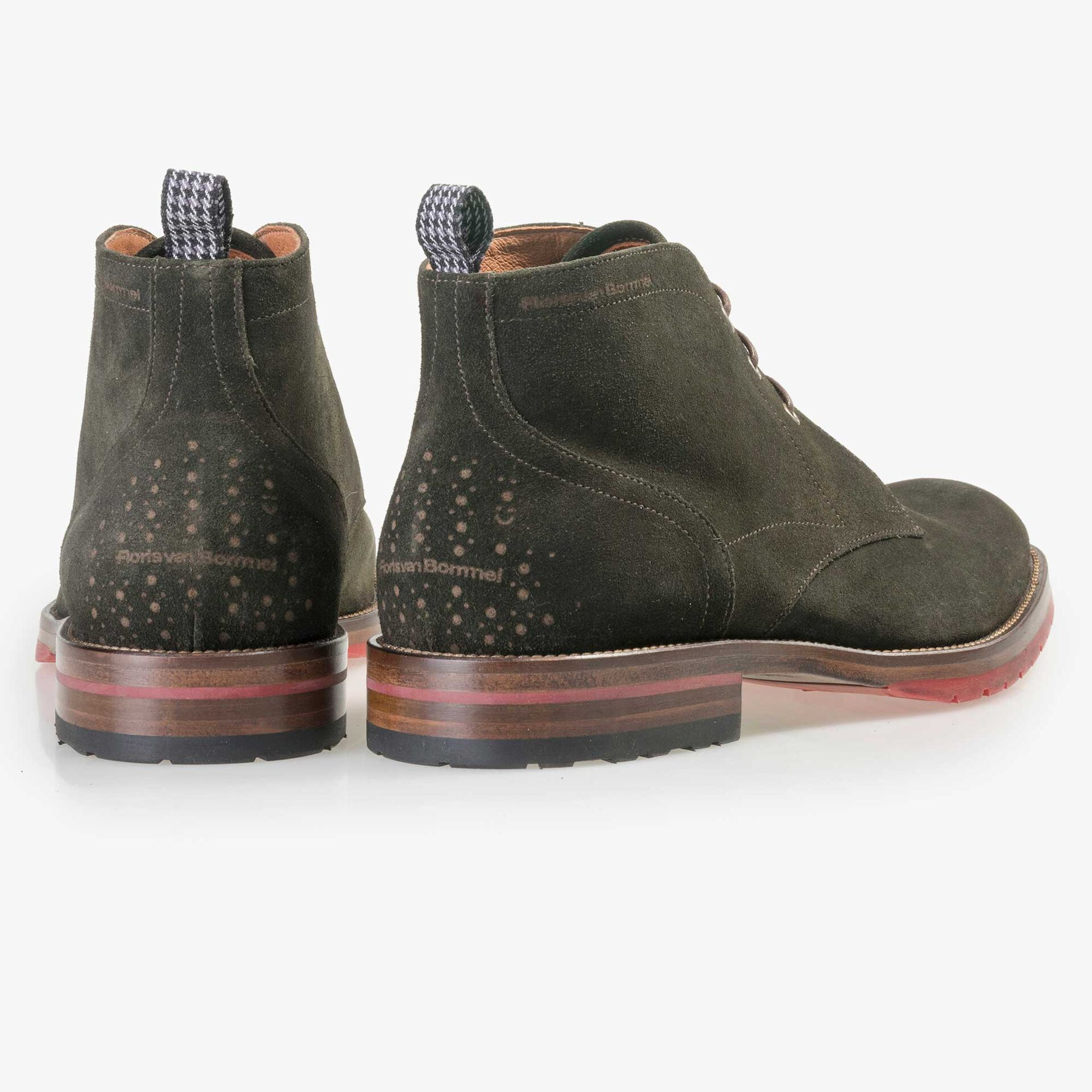 Floris van Bommel men's olive green suede leather lace boot