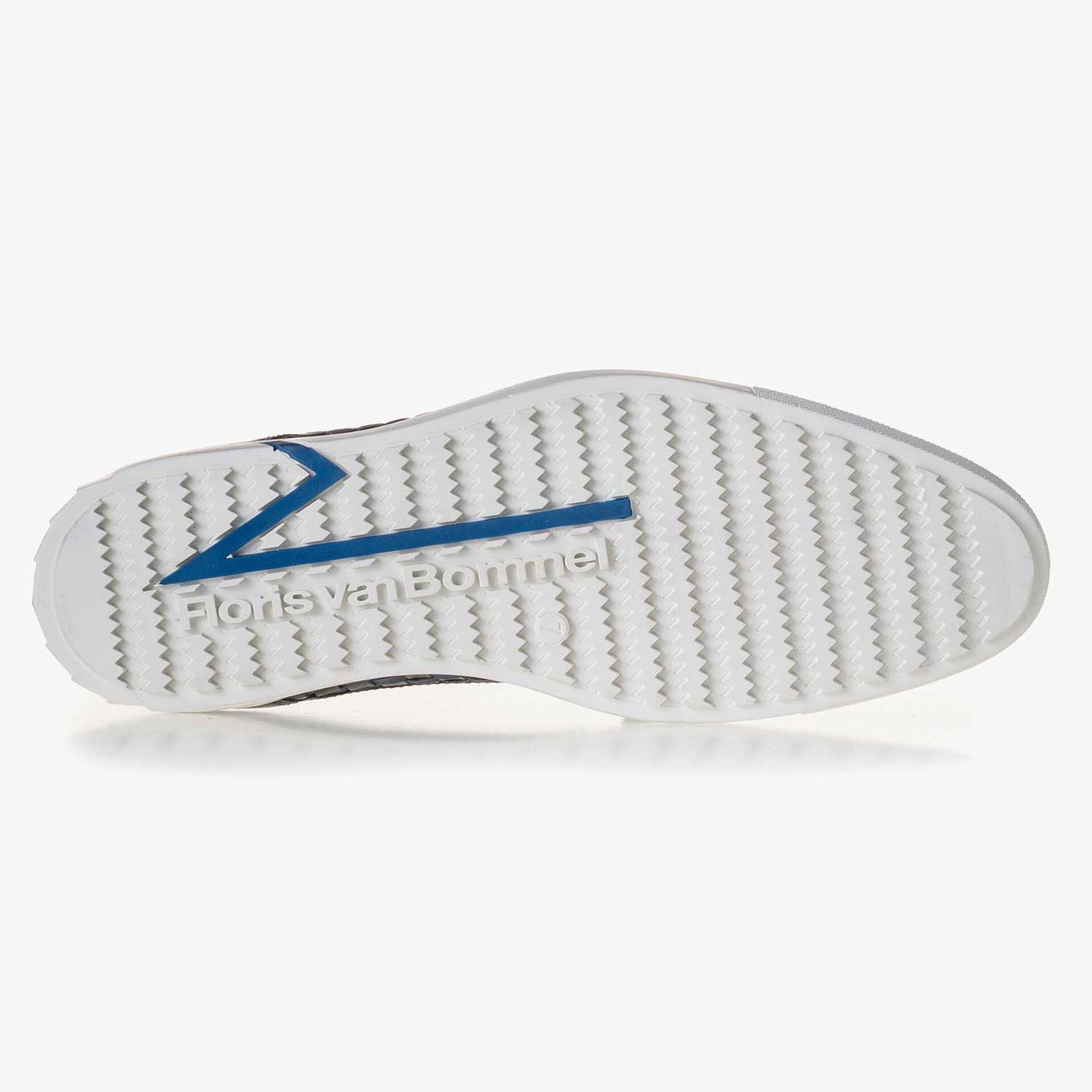 Premium dark blue braided leather lace shoe