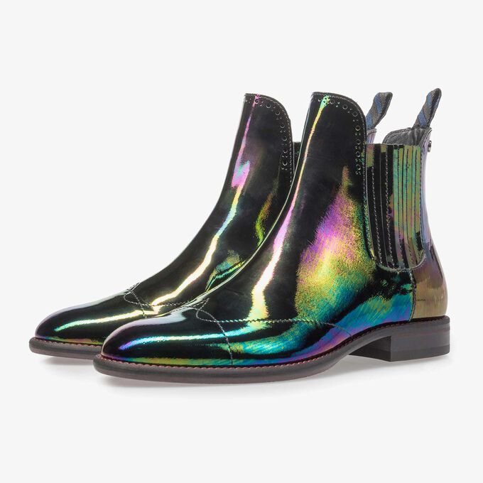 Multi-coloured patent leather Chelsea boot