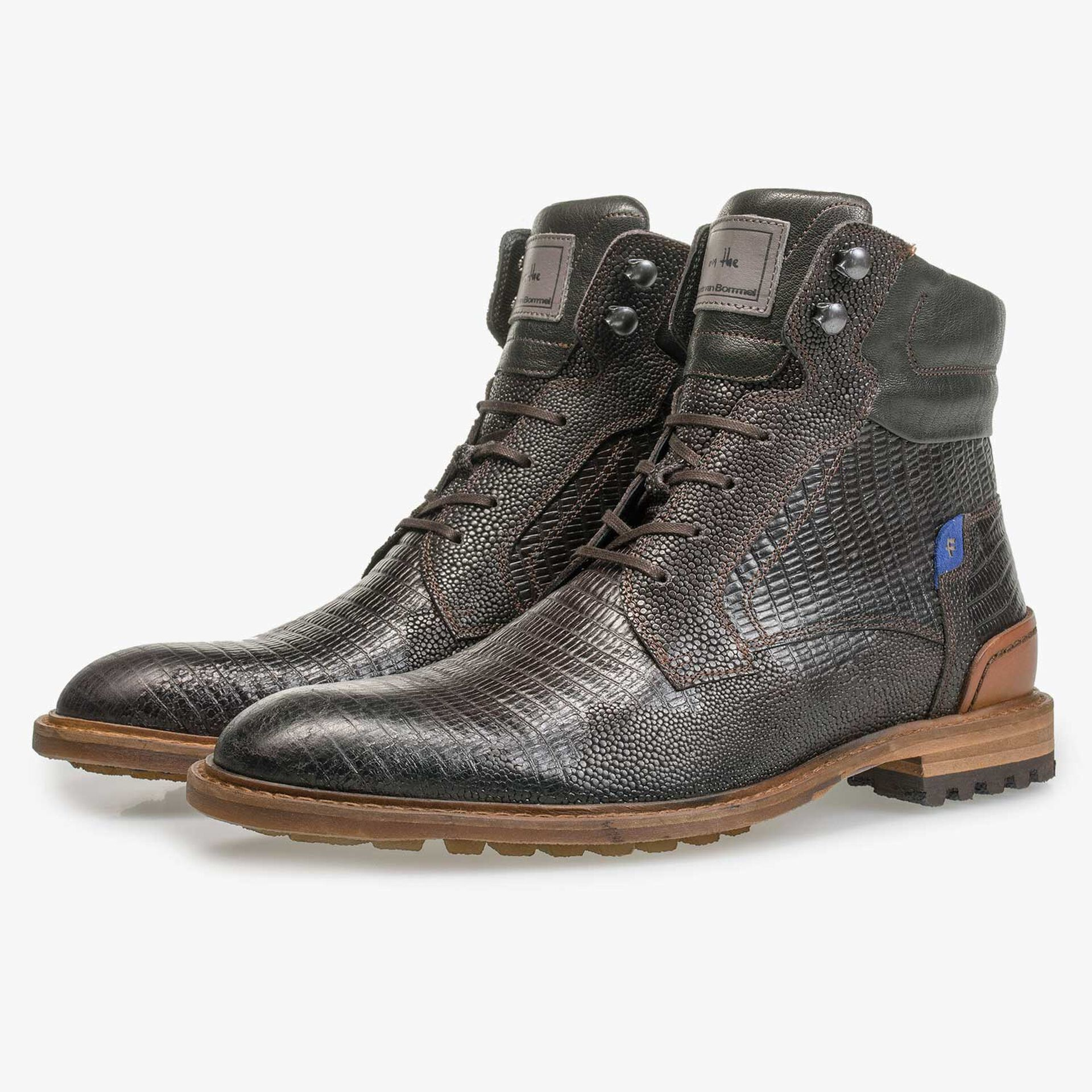Dark brown leather lace boot with lizard print