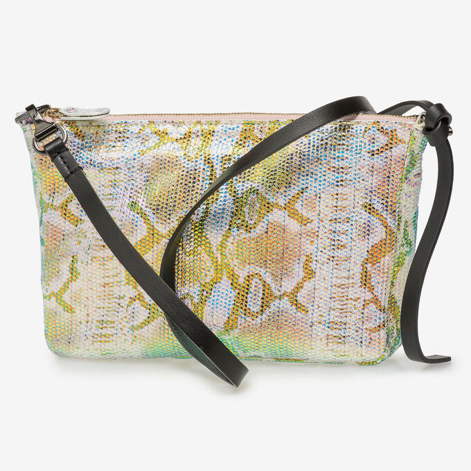Leather bag with green/gold metallic print