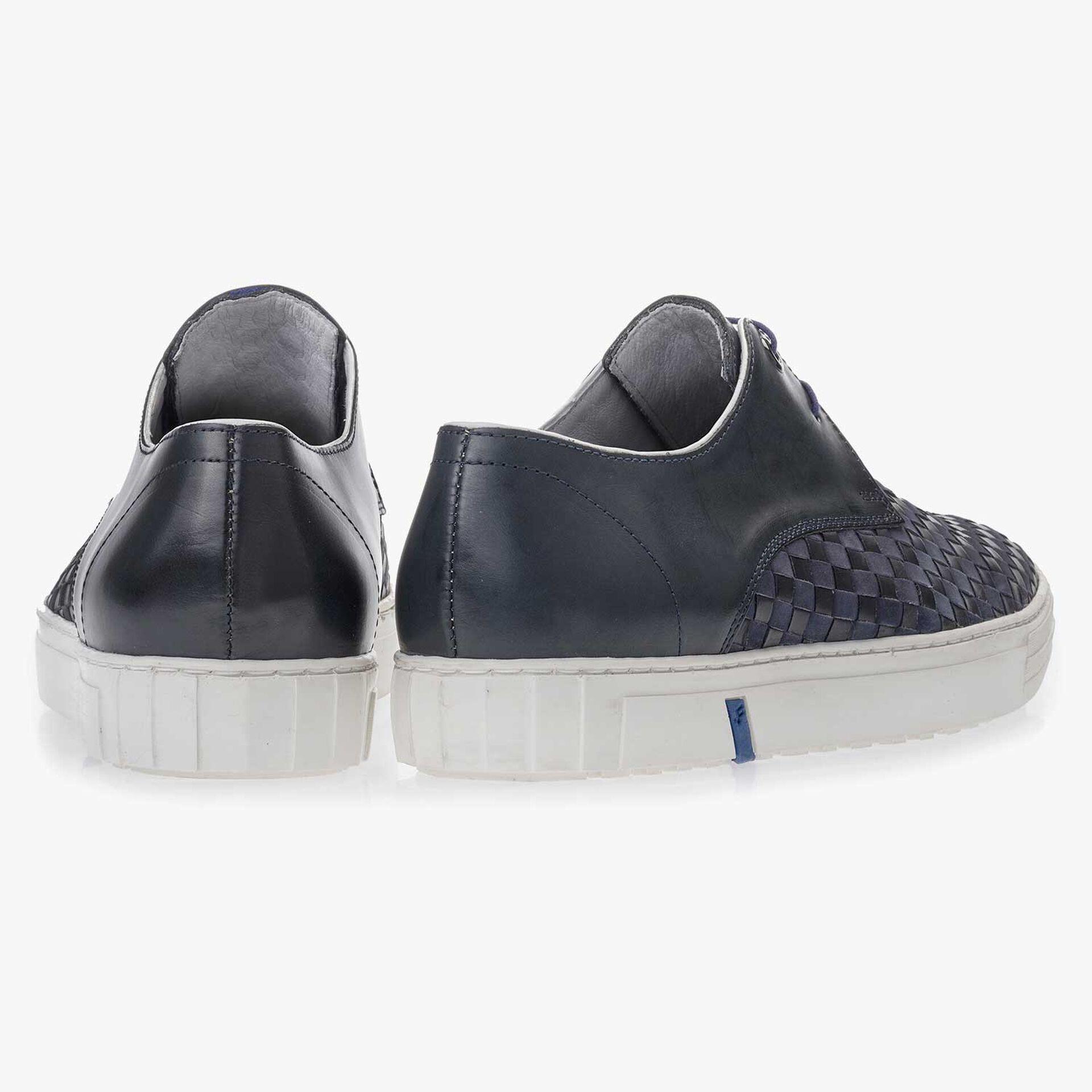 Dunkelblauer, Premium Schnürschuh aus geflochtenem Leder