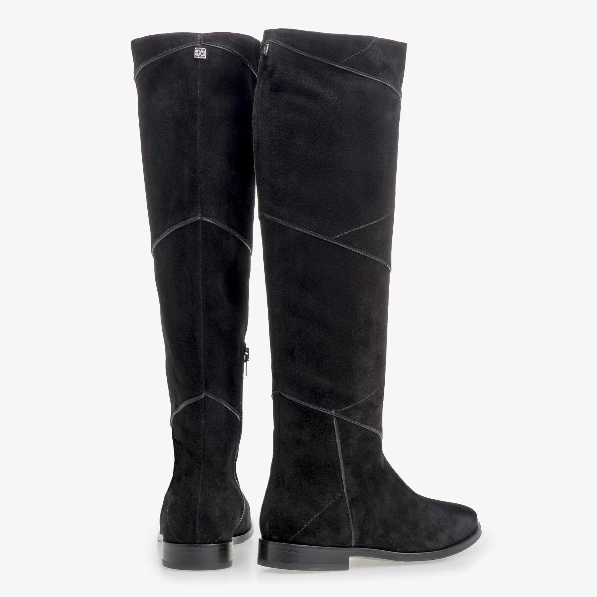 Floris van Bommel schwarze Stiefel aus Kalbswildleder