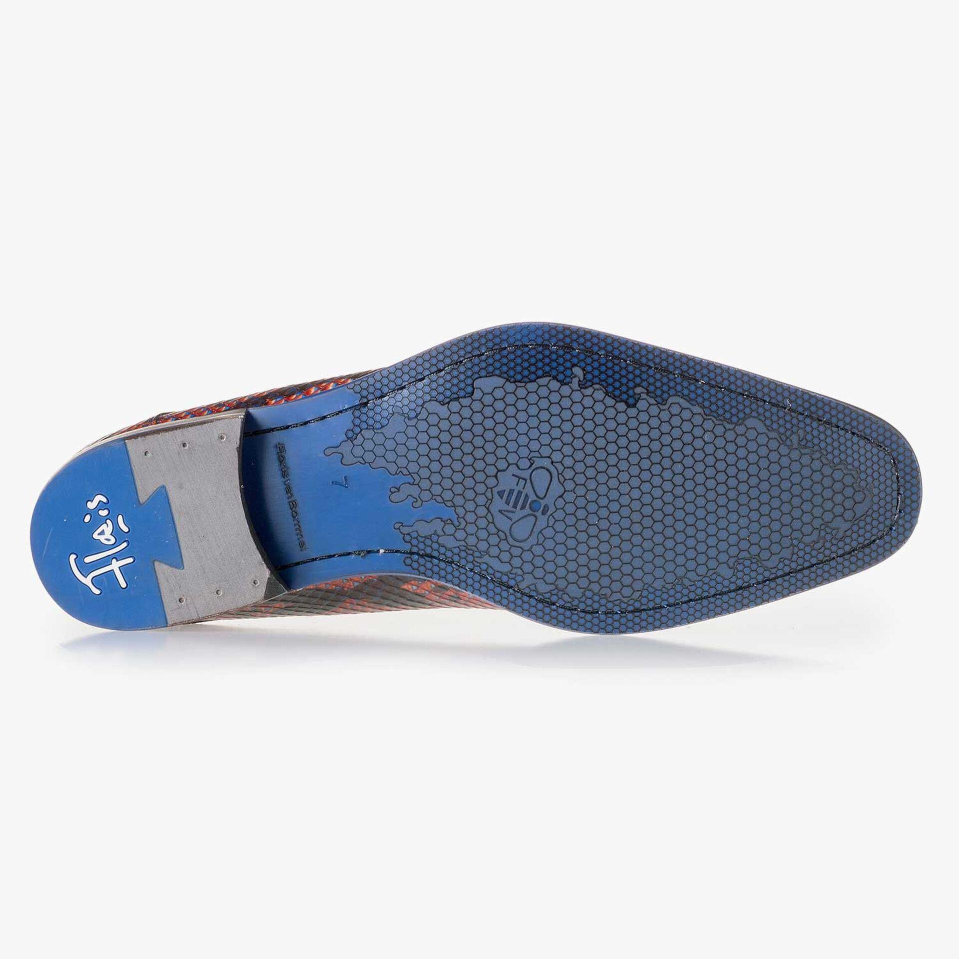 Blauer Leder Schnürschuh mit Schlangenprint