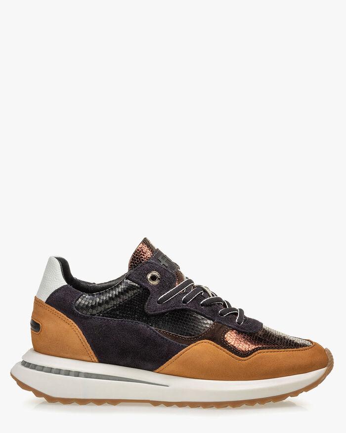 Sneaker Metallic-Print braun