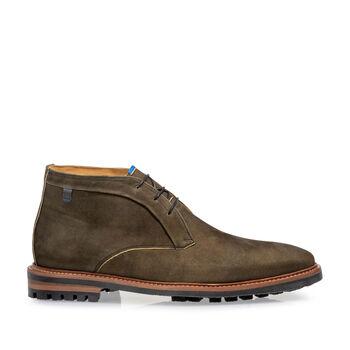 Lace boot nubuck leather dark green