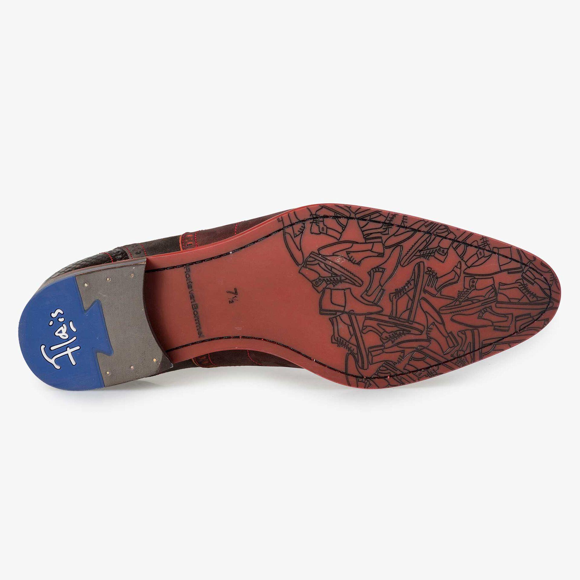 Floris van Bommel dark red brogue lace shoe