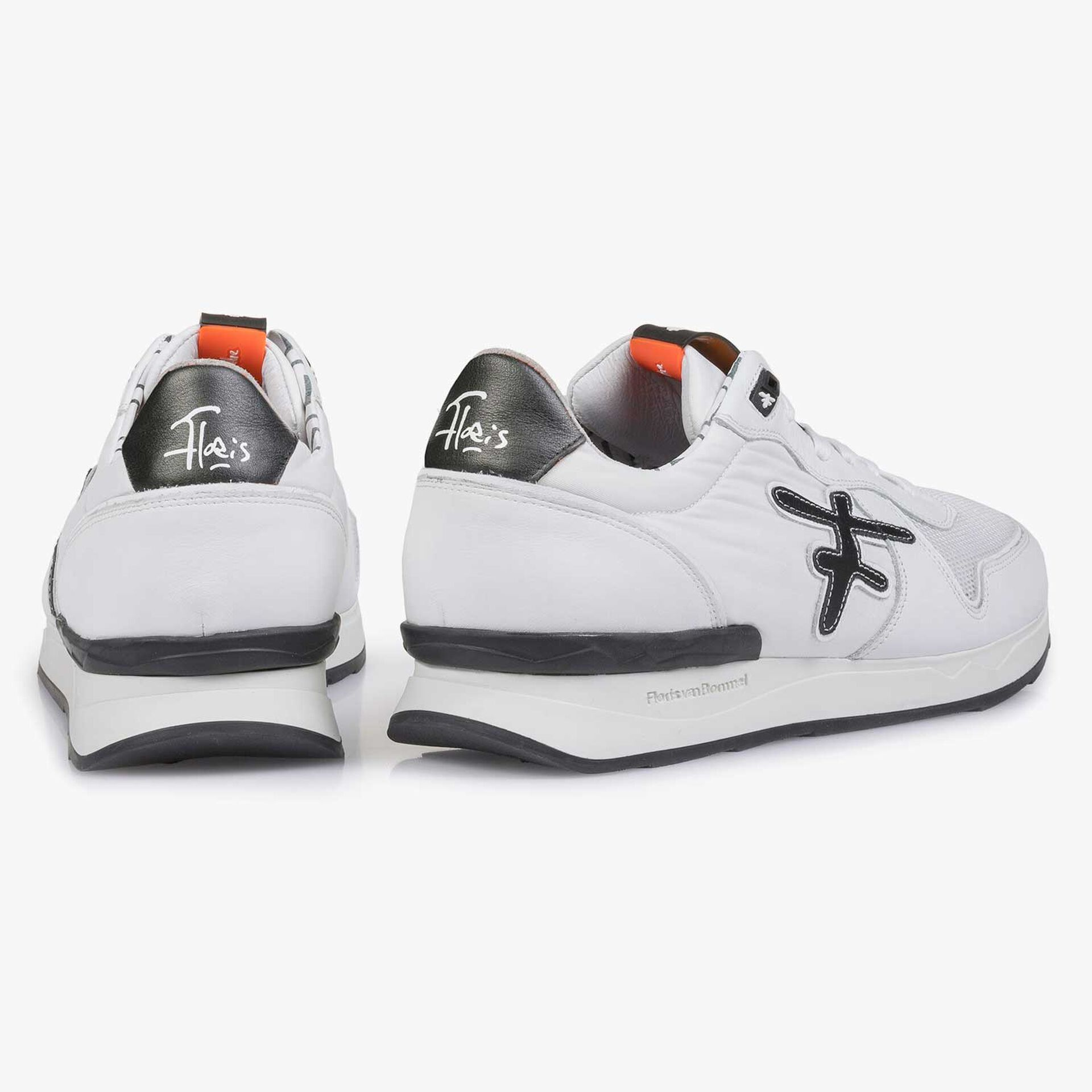 White leather sneaker with textile patches