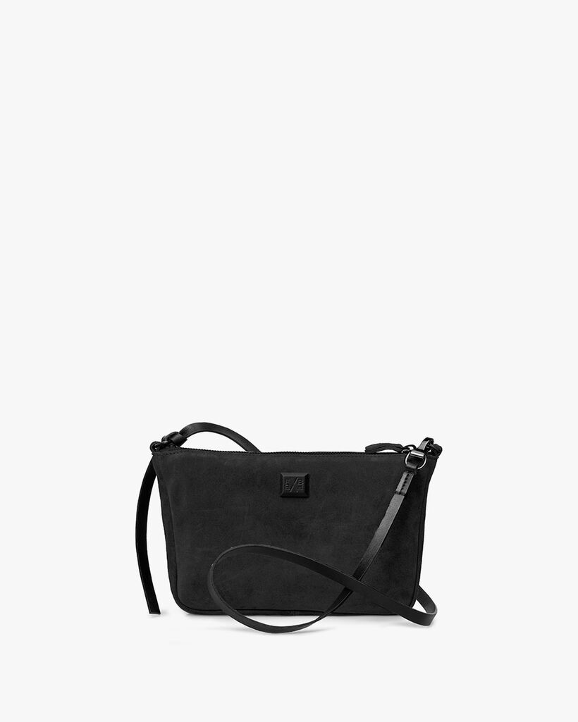 Cross body bag suede leather black