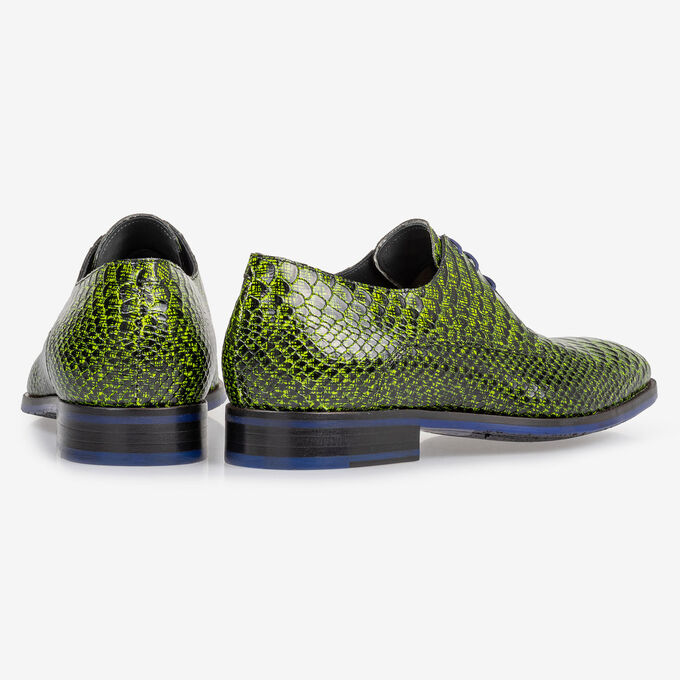 Lace shoe snake print dark yellow