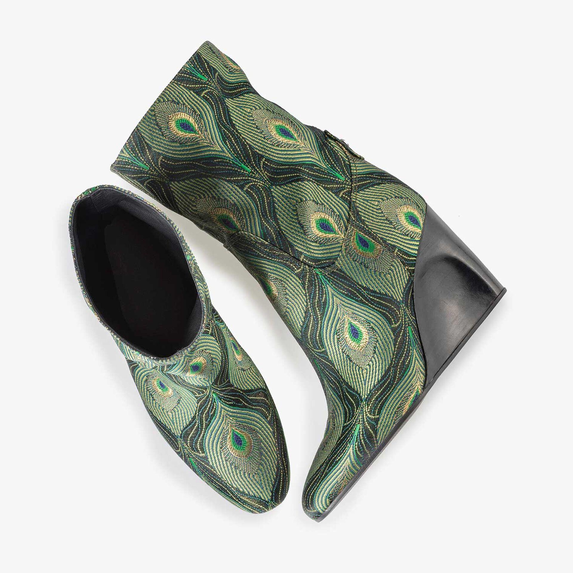 Halbhoher Stiefel mit grünem Pfauenprint