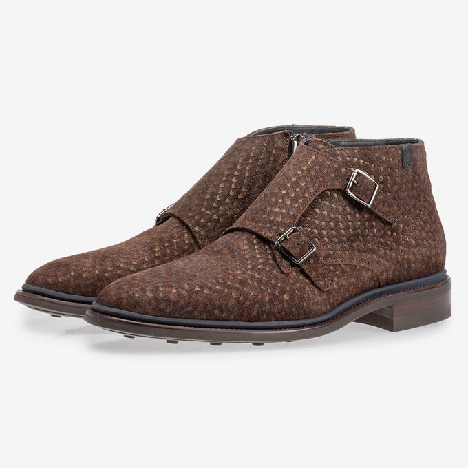 Boot with buckle closure dark brown